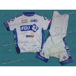 2012 Francaise des Jeux White Cycling Jersey and Bib Shorts Set