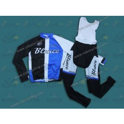 2013 Blanco Black And Blue Long Sleeve Cycling Jersey And Bib Pants Set