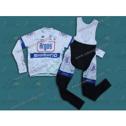 2013 Argos White Long Sleeve Cycling Jersey And Bib Pants Set