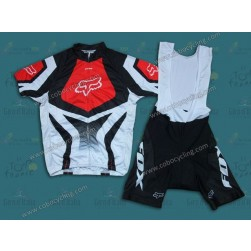 2014 Fox Team White And Red Cycling Jersey And Bib Shorts