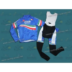2012 Skoda Italy Champion Blue Thermal Cycling Long Sleeve Jersey and Bib Pants Set