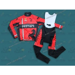 2013 Team Ferrari Red Thermal Long Cycling Jersey And Bib Pants