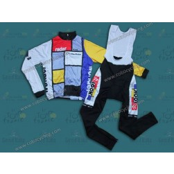Team La Vie Claire Vintage Thermal Long Sleeve Cycling Jersey And Bib Pants