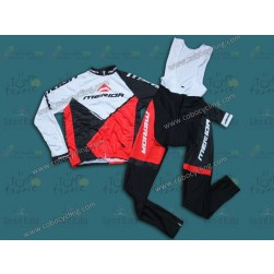 2014 Merida White And Red Long Sleeve Cycling Jersey And Bib Pants Set
