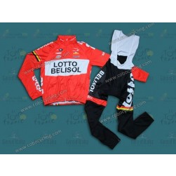 2014 Team Lotto - Belisol Thermal Long Sleeve Cycling Jersey And Bib Pants