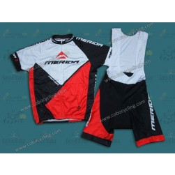 2014 Merida White And Red Cycling Jersey And Bib Shorts
