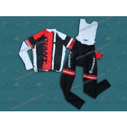 2014 Giant Black/Red Long Sleeve Cycling Jersey And Bib Pants Set