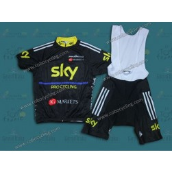 2013 SKY Black And Yellow Cycling Jersey And Bib Shorts