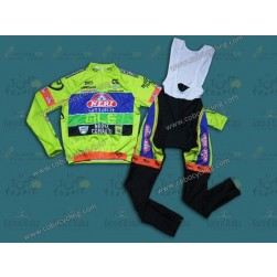 2014 Neri Sottoli- Yellow Fluo Long Sleeve Cycling Jersey And Bib Pants Set