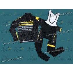 2013 LiveStrong Black Thermal Cycling Long Sleeve Jersey And Bib Pants Set