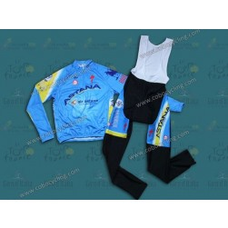 2014 Team Astana Long Sleeve Cycling Jersey And Bib Pants Set
