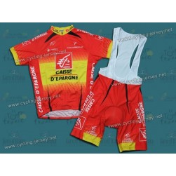 CAISSE D'EPARGNE Spanish Champion Team Cycling Jersey And Bib Shorts Set