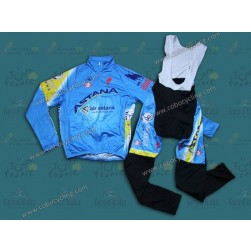 2014 Astana Thermal Long Sleeve Cycling Jersey And Bib Pants