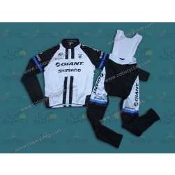 2014 Team Giant Shimano White Thermal Long Sleeve Cycling Jersey And Bib Pants