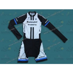 2014 Team Giant Shimano White Long Sleeve Cycling Skinsuit Time Trail Skin Suits