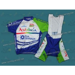 2011 Caja Granada Andalucia White Cycling Jersey and Bib Shorts Set