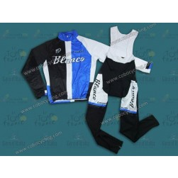 2013 Blanco Black And Blue Thermal Long Cycling Jersey And Bib Pants