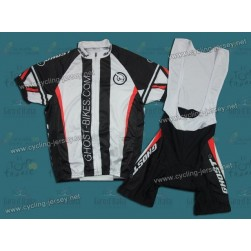 2011 GHOST Black and White Cycling Jersey and Bib Shorts Set