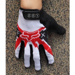 2014 Team Fox White And Red Thermal long Cycling Gloves
